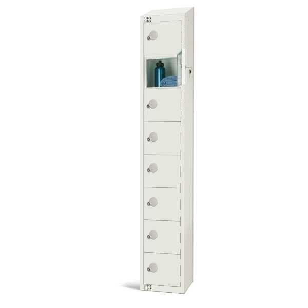 300mm Deep Locker 8 Door Padlock White with Sloping Top (Direct)-0
