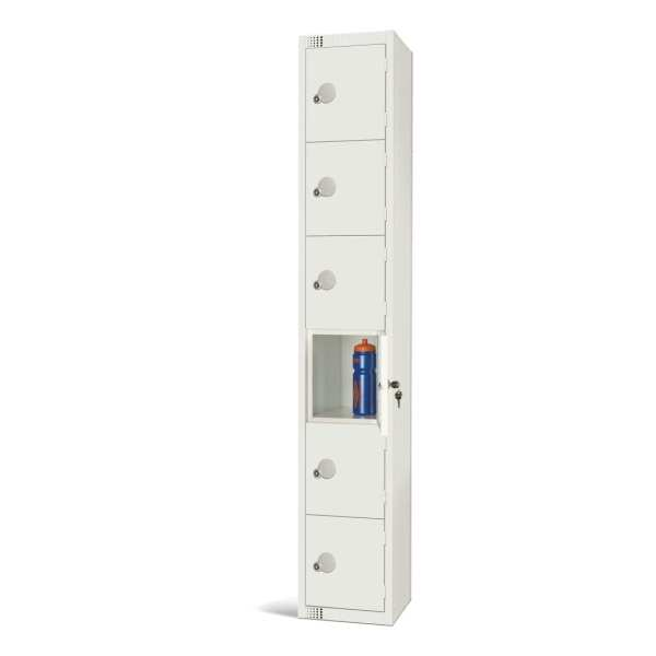 450mm Deep Locker 6 Door Padlock White - 1800x450x300mm (Direct)-0