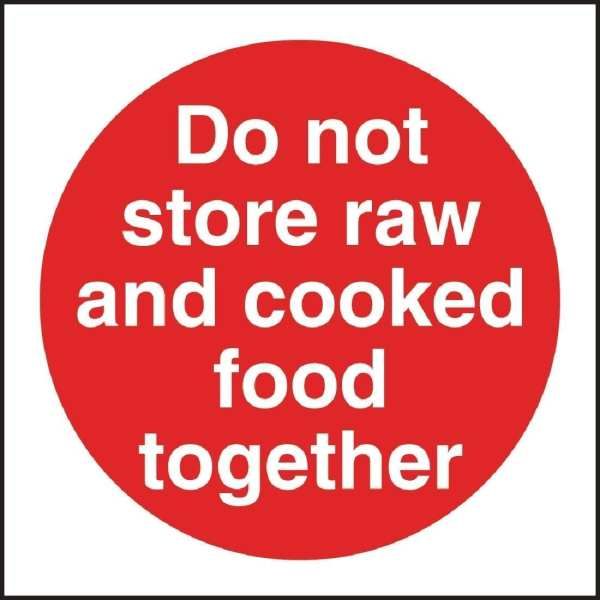 Do Not Store Raw/Cooked Sign (Self-Adhesive)-0