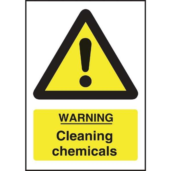 Warning Cleaning Chemicals Sign - 200x150mm (Self-Adhesive)-0