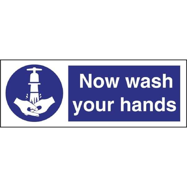 Now Wash Your Hands Sign - Single (Self-Adhesive)-0