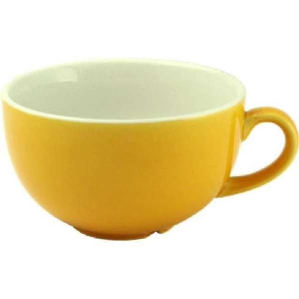New Horizons Coloured Border Yellow Cappuccino Cup Solid 10oz (Box 24) (Direct)-0