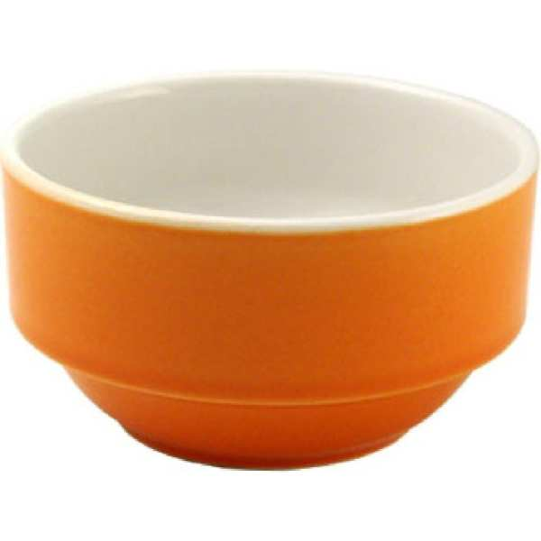 New Horizons Coloured Border Orange Consomme Bowl Solid - 10oz (Box 24) (Direct)-0