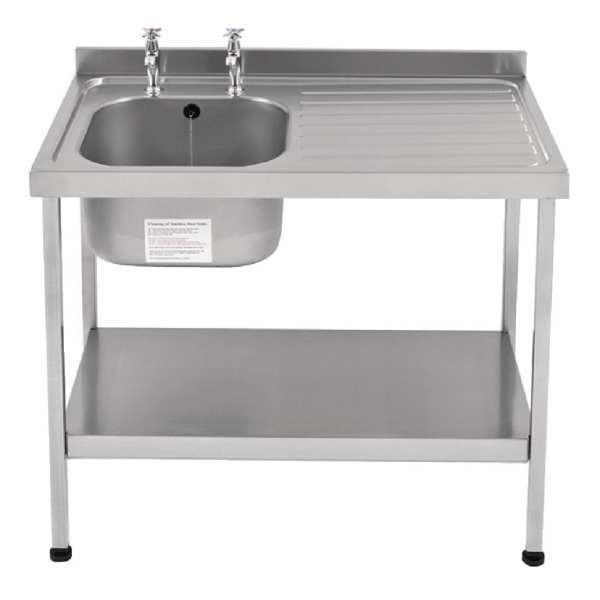Sissons St/St Sink 1000x600mm L/H Bowl inc taps & R/H Drainer Mini Range(Direct)-0