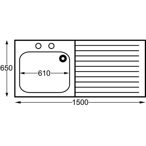 Sissons St/St Sink - 1500mm L/H Bowl inc taps & R/H Drainer Midi Range (Direct)-0
