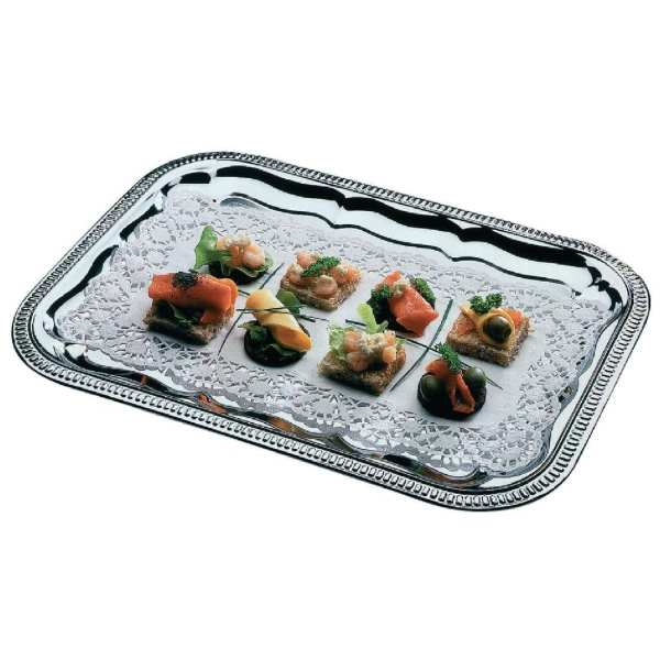 Semi Disposable Party Tray Rectangular Chrome Plated - 41x31cm-0