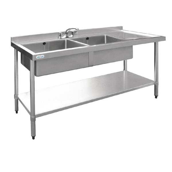 Vogue Double Bowl Sink R/H Drainer - 1500mm-0