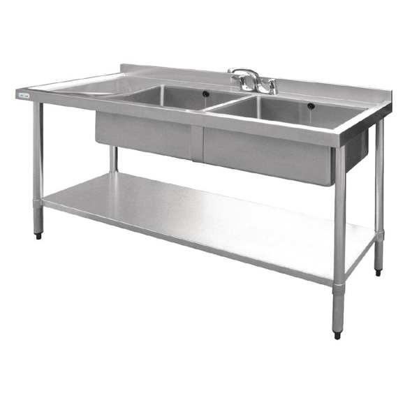 Vogue Double Bowl Sink L/H Drainer - 1500mm-0