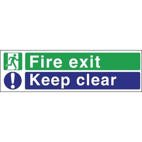 Fire Exit. Keep Clear Sign - 150x450mm (Self-Adhesive)-0