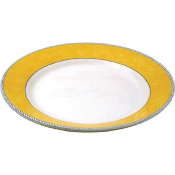 "New Horizons Coloured Border Yellow Mediterrean Dish 11"" (Box 12) (Direct)-0"