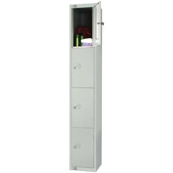 300mm Deep Locker 4 Door Camlock Mid Grey with Sloping Top (Direct)-0
