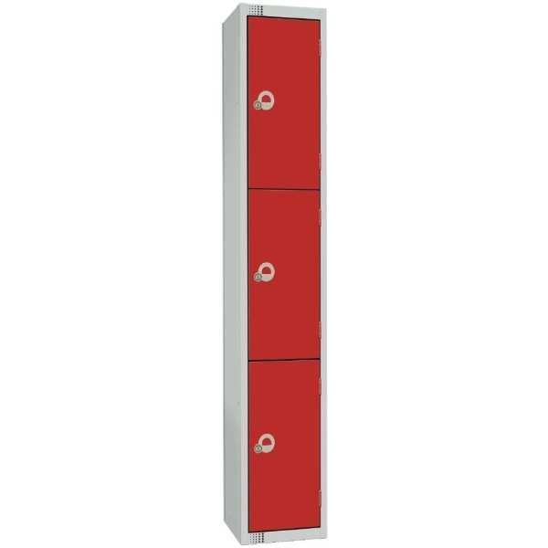 300mm Deep Locker 4 Door Camlock Red - 1800x300x300mm (Direct)-0