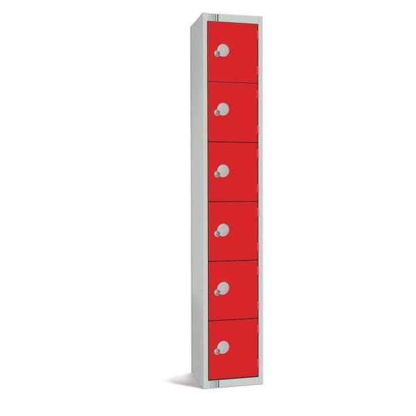 300mm Deep Locker 6 Door Padlock Red - 1800x300x300mm (Direct)-0