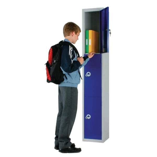 450mm Deep Locker 3 Door Padlock Blue - 1800x450x300mm (Direct)-0