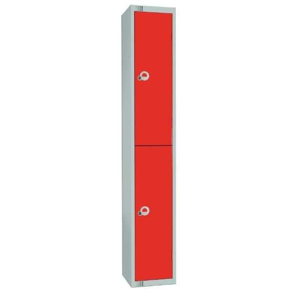 450mm Deep Locker 2 Door Padlock Red with Sloping Top (Direct)-0