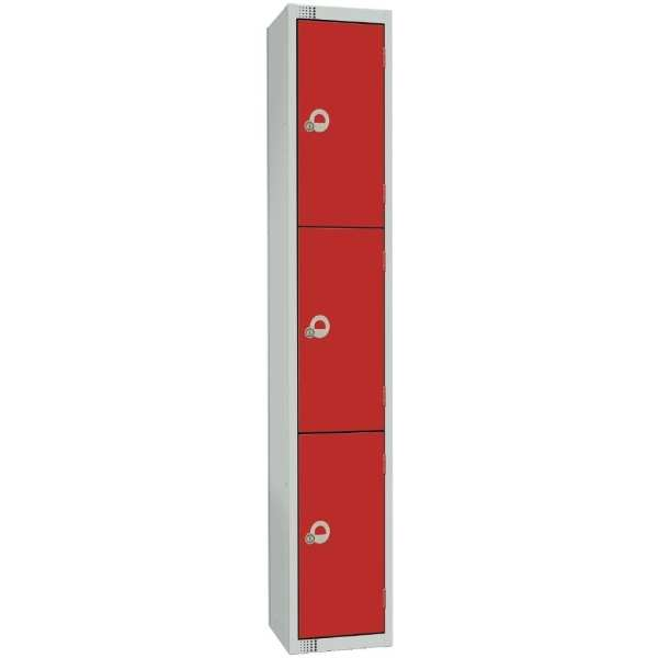 450mm Deep Locker 4 Door Padlock Red with Sloping Top (Direct)-0