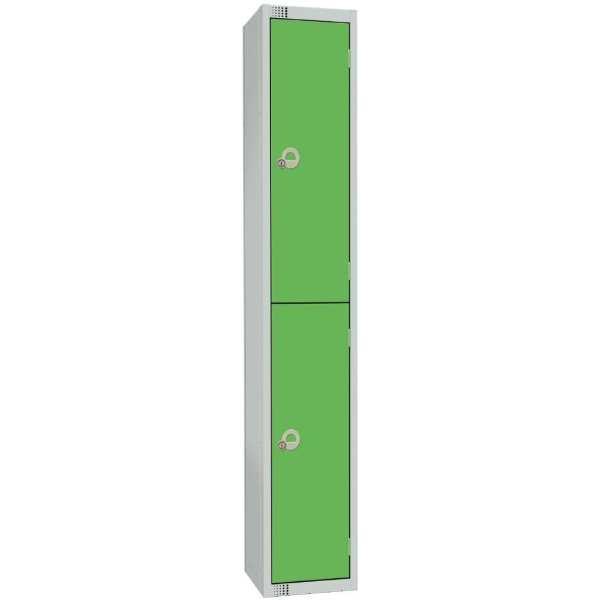 450mm Deep Locker 2 Door Camlock Green with Sloping Top (Direct)-0