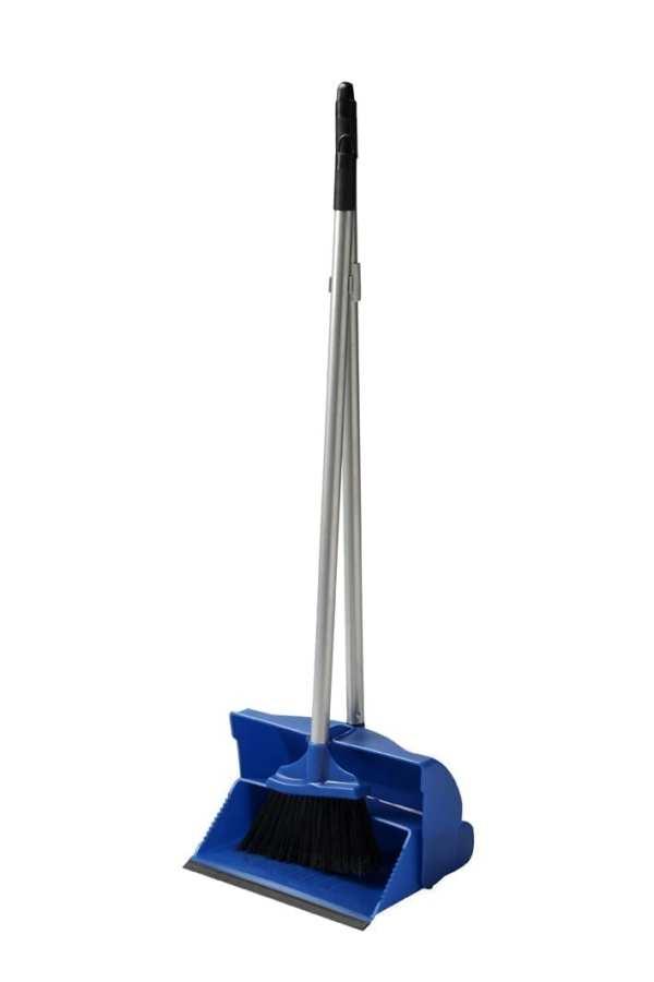 Dust Pan & Brush Set - Long Handled - Blue -0