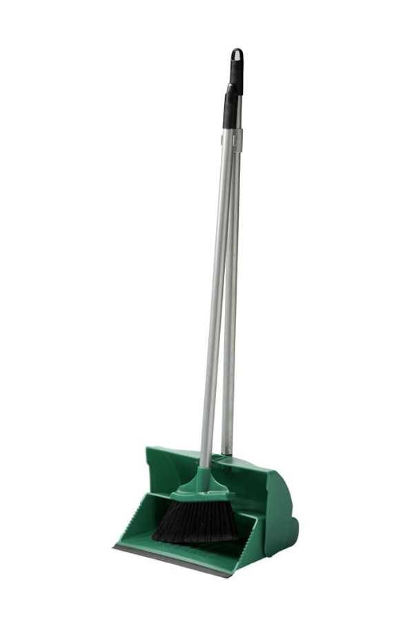 Dust Pan & Brush Set - Long Handed - Green-0
