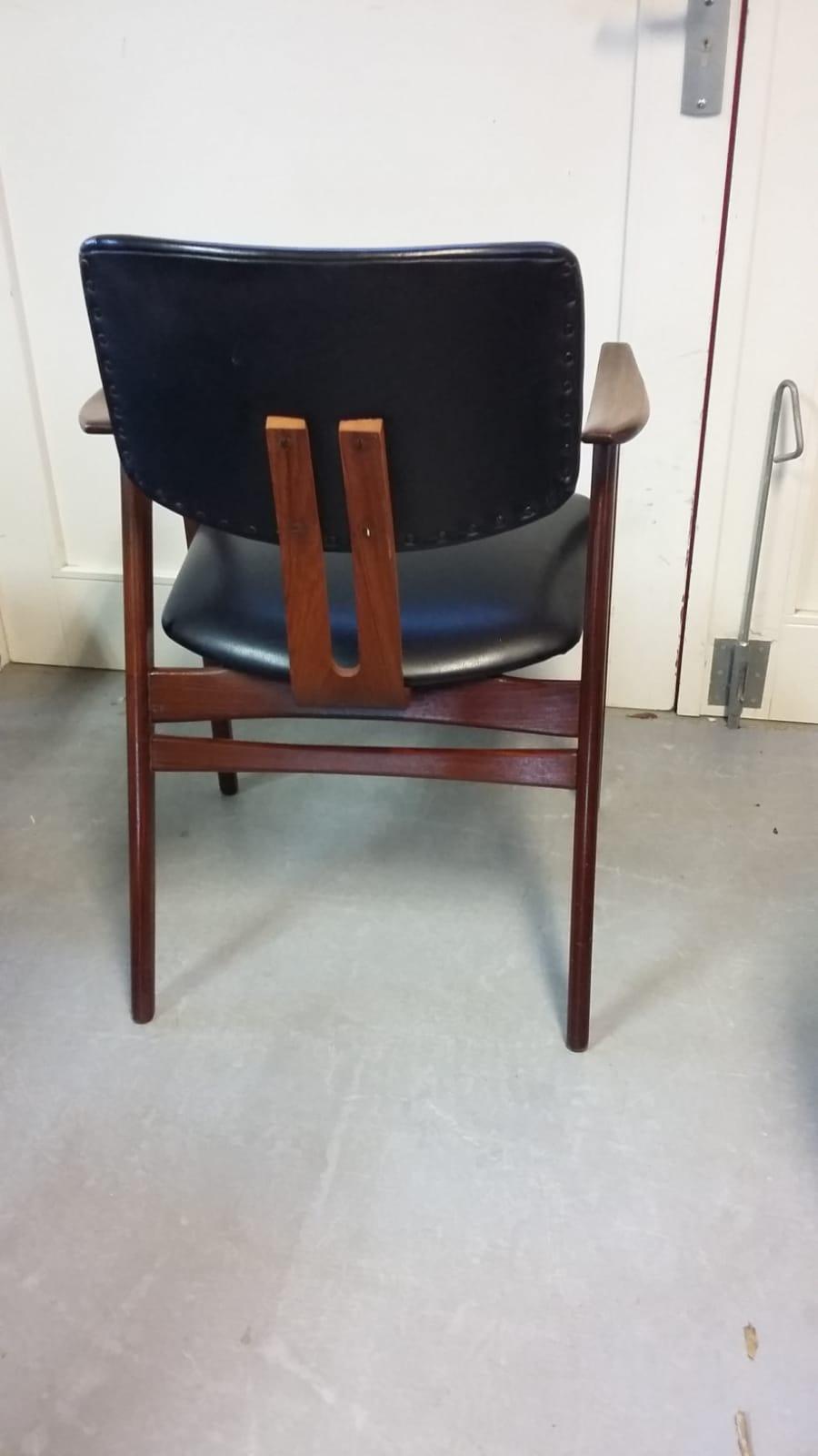 Leren Zwarte Stoelen.Zwart Leren Stoel Design Cees Braakman Voor Pastoe Loos Vintage