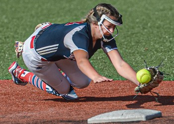 Independence shortstop Alli Hypes makes a diving stop on a ball hit up the middle by Herbert Hoover during Thursday WV State Tournament action in South Charleston. (F. Brian Ferguson/Lootpress)