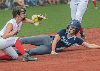 Midland Trail's Chezney Skaggs waits for the throw from home as Ritchie County's Alyvia Pittman slides in safely for the steal during Tuesday WV State Tournament action in South Charleston. (F. Brian Ferguson/Lootpress)