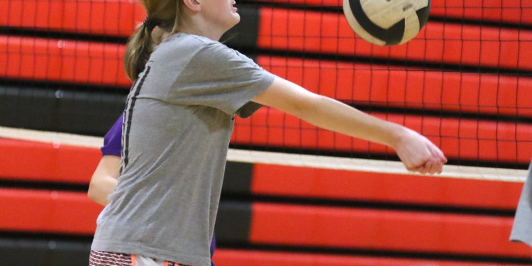 (Brad Davis/For LootPress) Greater Beckley Christian senior setter Jenna Fisher returns a ball as she and teammates work through drills during practice August 30 in Prosperity.