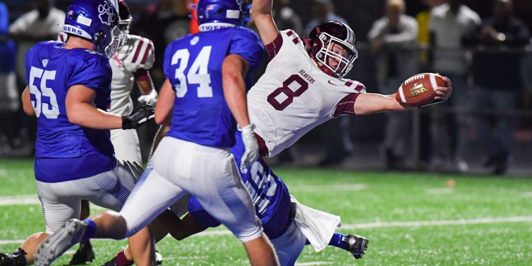 Bluefield quarterback Ryker Brown reaches for the end zone during a game against Princeton on Friday Sept. 3 (Greg Barnett)