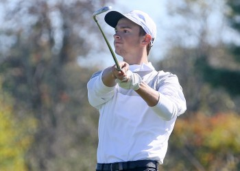 Westside's Tanner Walls shoots from the fairway during the Class AA Region Tournament at Grandview. (Brad Davis/Lootpress)