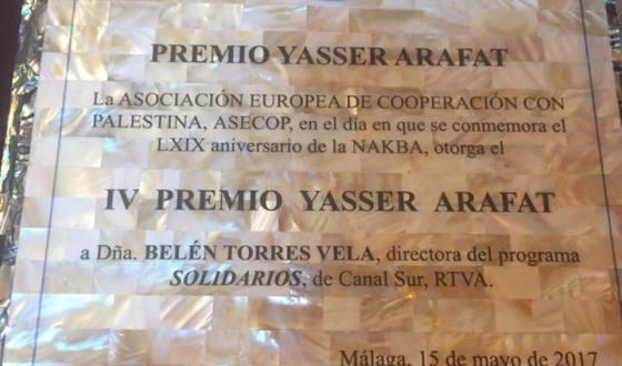 Belén Torres Vela, premio Yaser Arafat