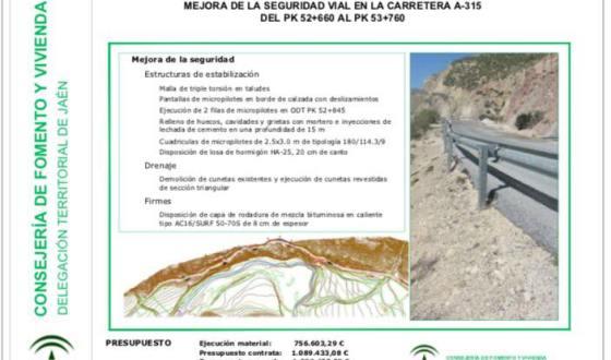Presentado el proyecto de mejora de 1,1 Km de la carretera A-315.