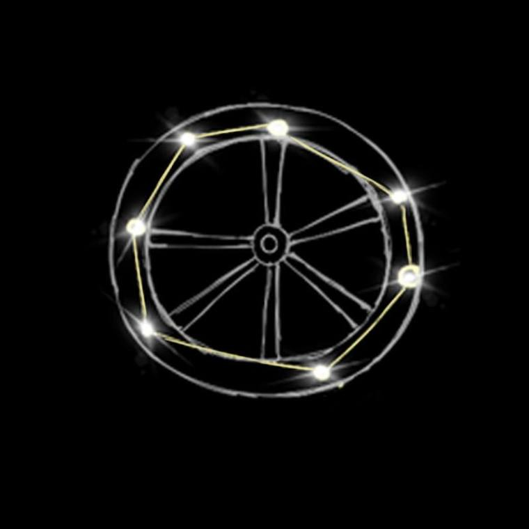 Hung by Losidor, the wheel turns all things, standing them end up before righting them again.