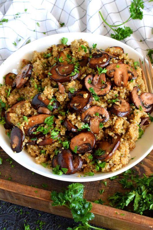 Sautéed Mushroom Garlicky Quinoa