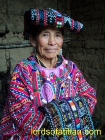 Texela dressed in ceremonial garb in the Fair of Santa María de la Asunción, Aug. 15th, Sololá.