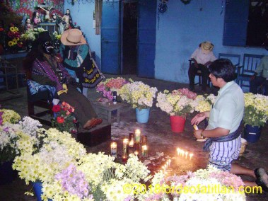 This image of Rilaj Mam is in the cofradía de las Ánimas in San Lucas Tolimán, but the Maya priest is from Santiago.