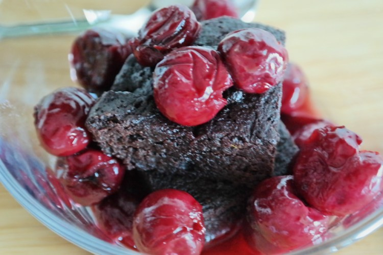 Brownie and sour cherry