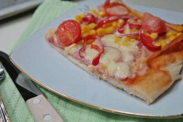 A slice of homemade pizza