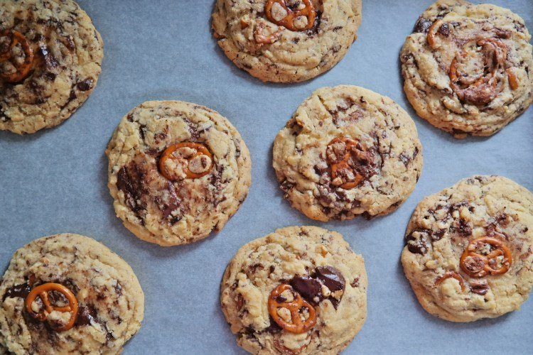 Chocolate chip and pretzel cookies - out of the oven