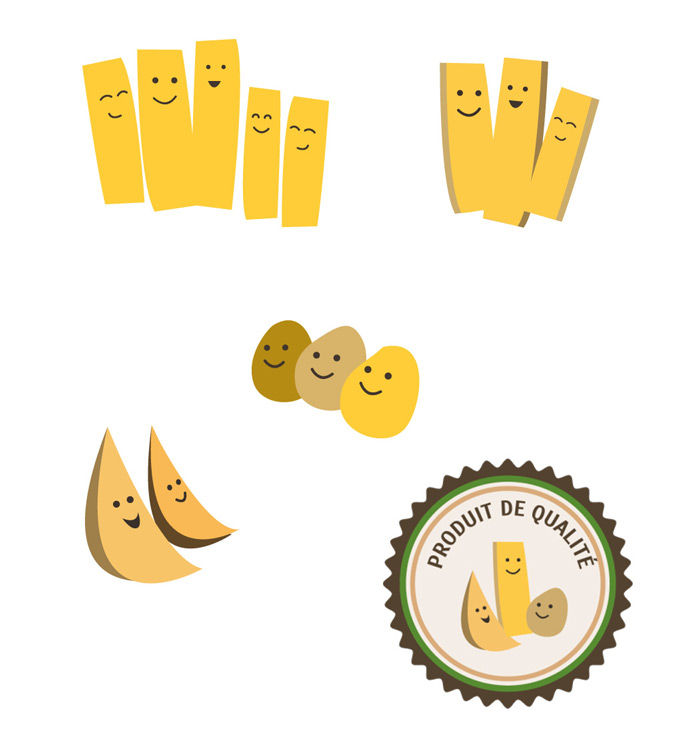 illustrations déclinées d'après logo pomme de terre