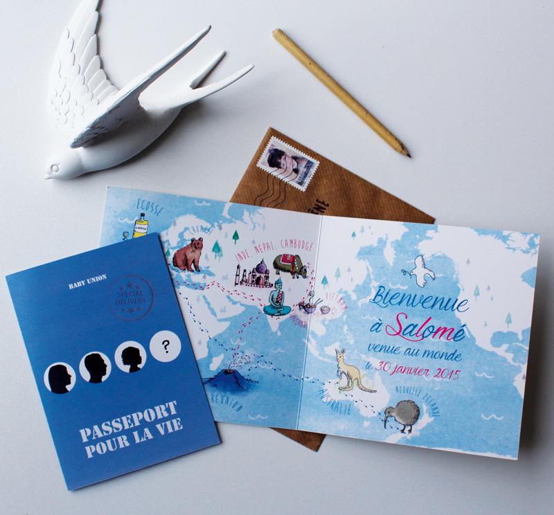 faire-part passeport voyage