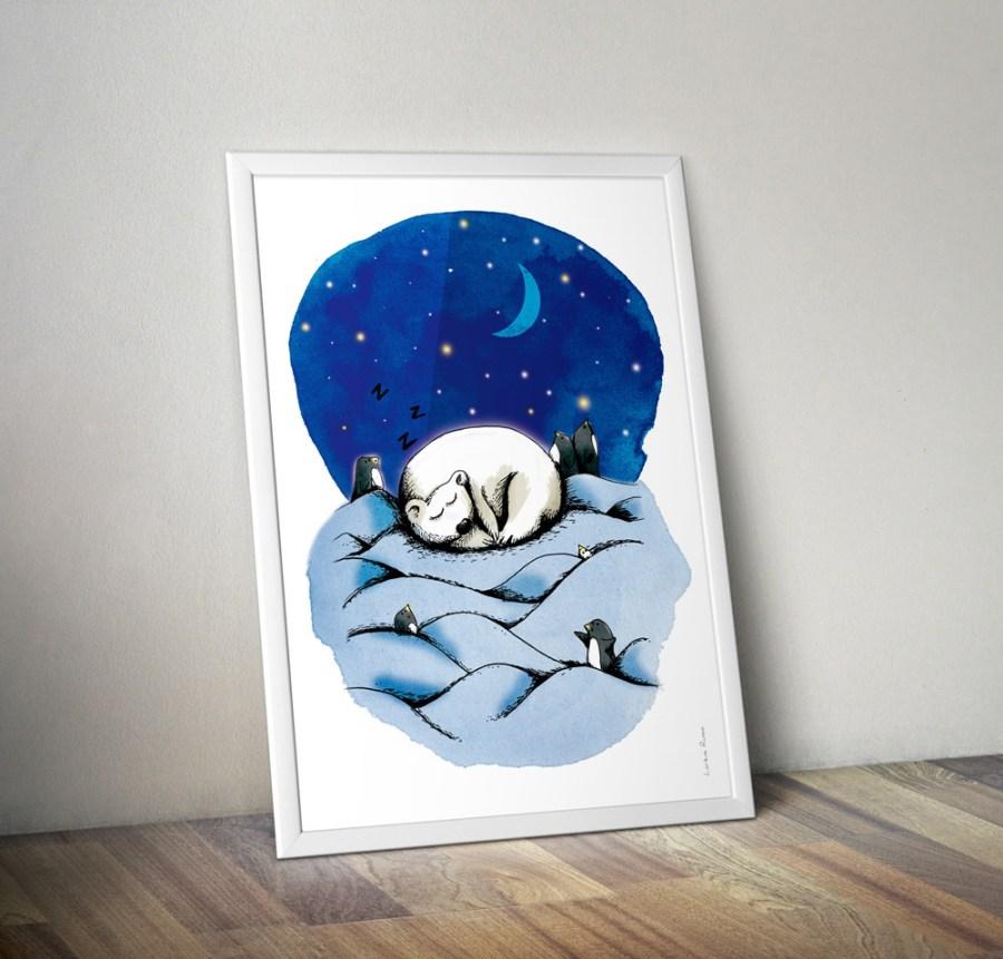 Affiche deco nuit ours polaire
