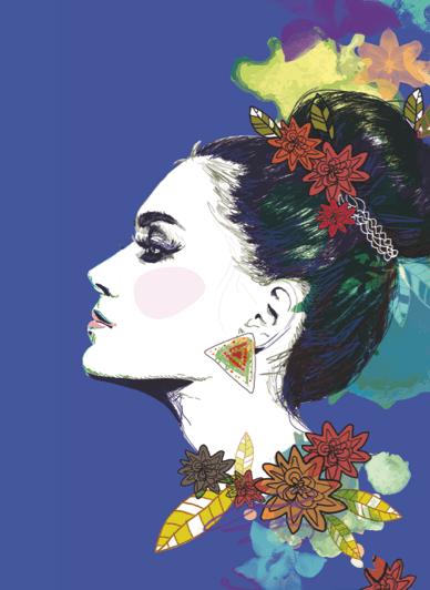 femme de profil illustration digitale
