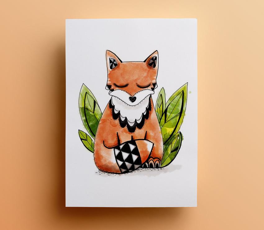 Affiche renard graphique et geometrique