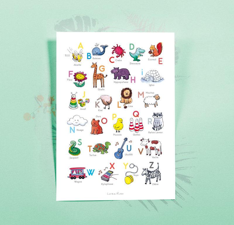abecedaire poster éducatif décoration chambre enfant