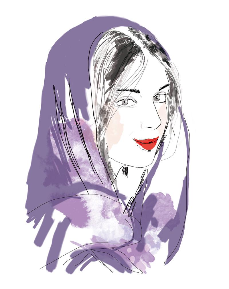 illustration portrait de femme voilée