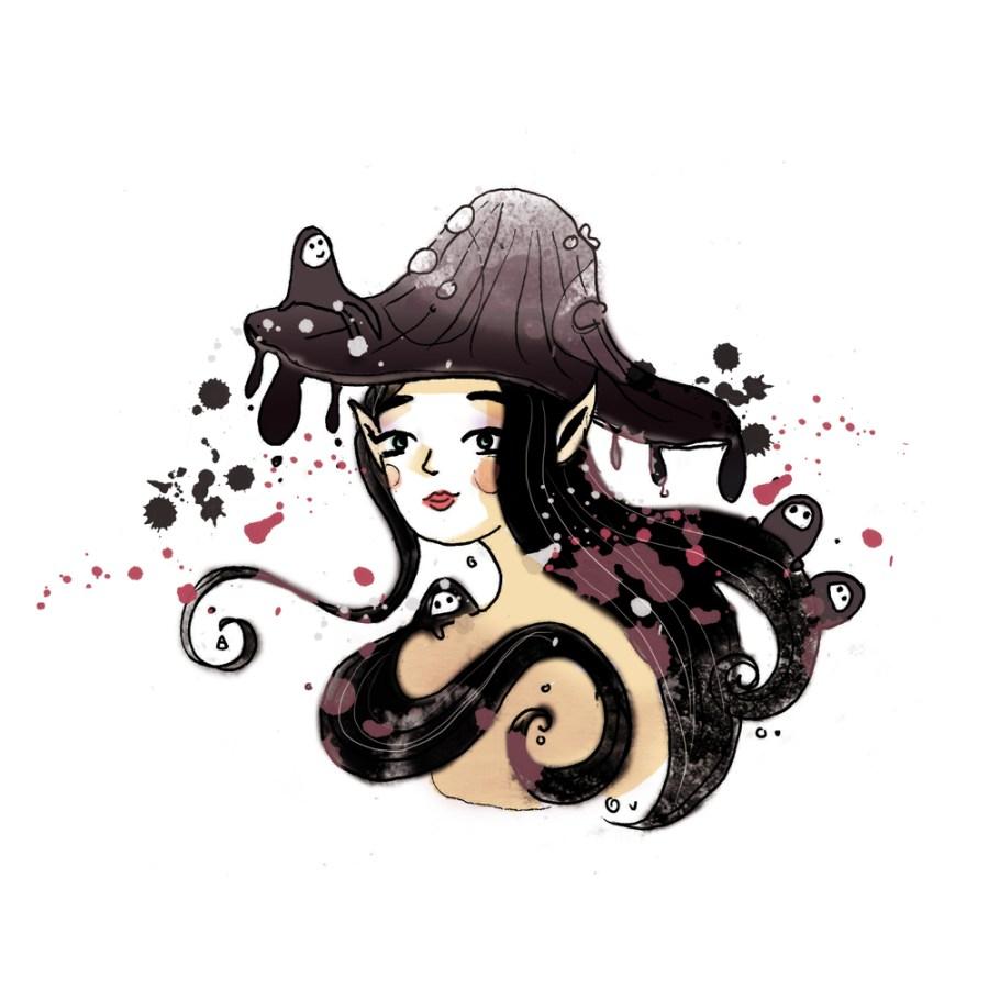 illustration personnage portrait femme champignon noir