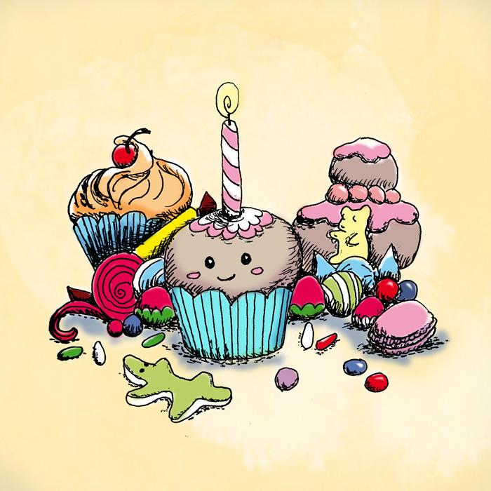 dessin cupcakes gourmandises