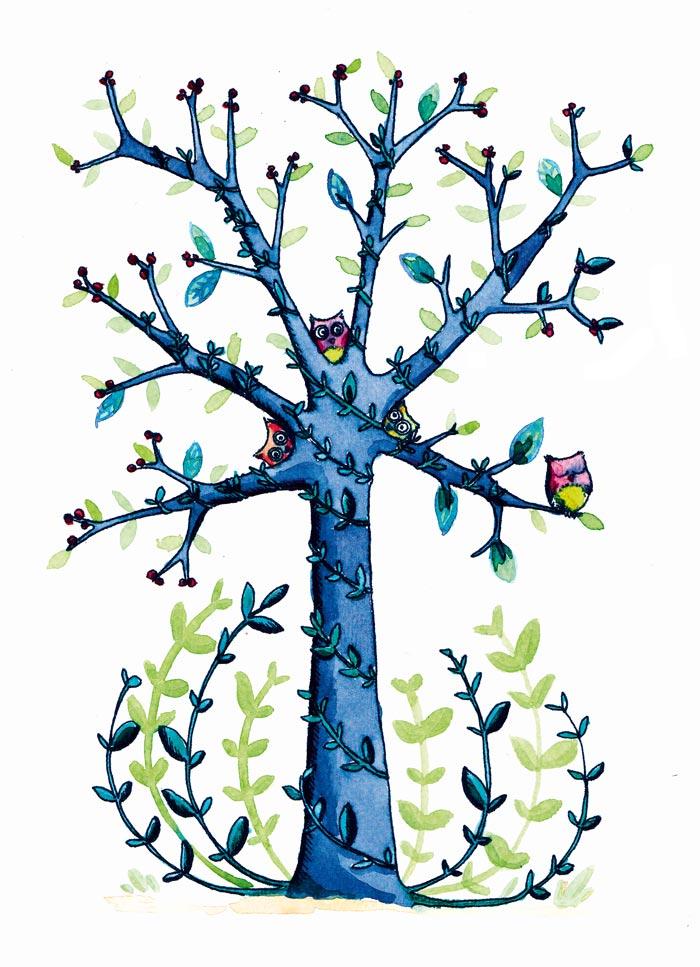 illustration arbre a chouettes
