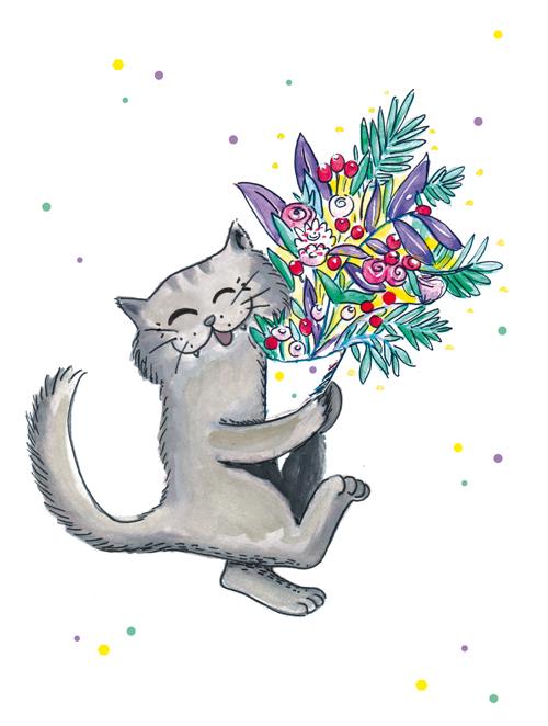 illustration chat bouquet de fleurs