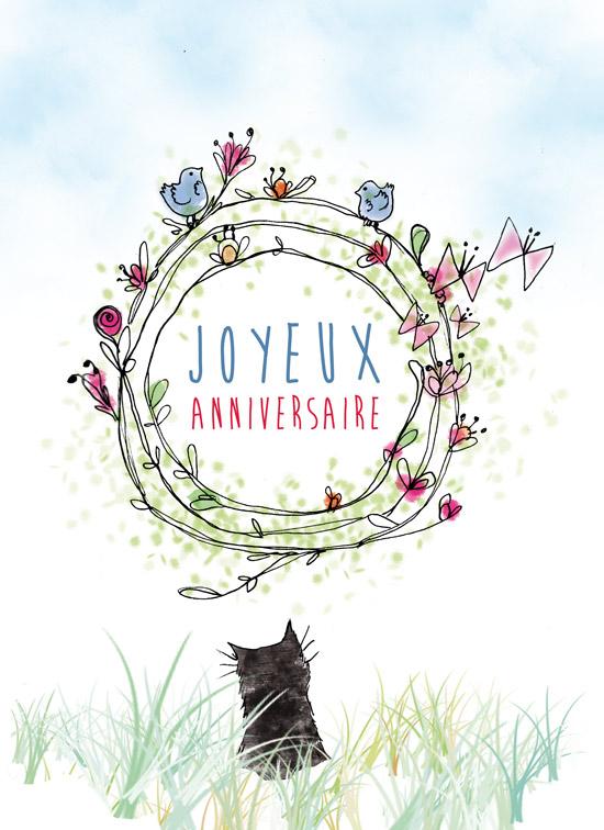 illustration pour carte postale joyeux anniversaire